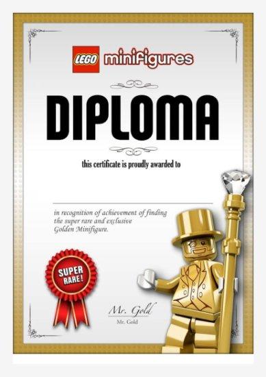 LEGO Mr. Gold virtual diploma certificate